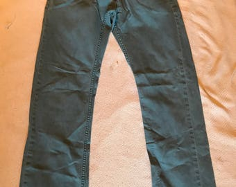 Levi's 514 jeans aqua greenish blue size 30x32 vintage used