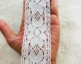 White Lace Trim/ White Crochet Lace Trim/ Broad Lace Trim
