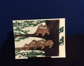 Digital print - Family Picture of Five bears Laying on a Tree, Great for Gift get Personalized to your Family with Names and Birthdays!