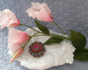 Made in Austria Vintage Round Blue and Pink Brooch