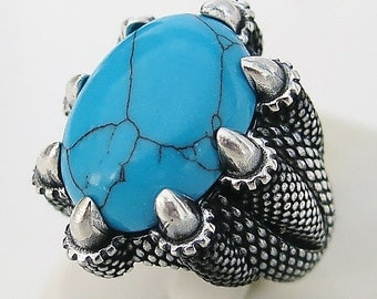 Handmade Natural Afghan Turquoise Stone 925 Sterling Silver Men's Woman's Ring