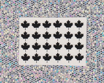 24 Maple leaf vinyl nail decal for nail art available in 20 colours including holographic. Nail sticker, nail vinyl, nail decal, Canada 150