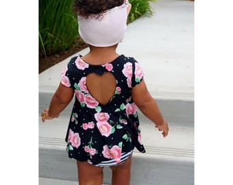 Baby Girl Outfit, Girls Fall Outfit, Baby Girl Top, Girls Hi Lo Top, Baby Girl Crop Top, Bummies, Black & White Bloomers, Baby Floral Top