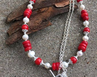 Red Bamboo Coral and Freshwater Pearl Necklace, Red and White Necklace, Coral Statement Necklace, Freshwater Pearl Necklace