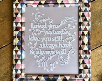 Papercut, Paper Cut, Custom Frame, Decoupaged Photo Frame, Photoframe, Love, Wedding Gift, Anniversary, Home Decor, Purples,