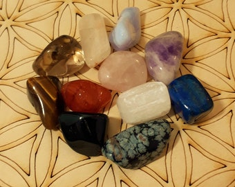 11pc Ultimate Chakra Opening Crystal Set - Reiki Tumbled Stones - Selenite Rose Quartz Tigers Eye Amethyst Lapis Lazuli Snowflake Obsidian
