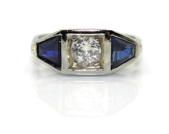 Art Deco diamond ring and sapphires