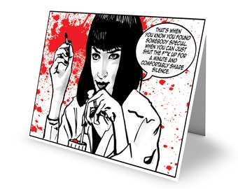 Dead All Over Pulp Fiction 'Comfortable Silence' Greetings Card with envelope C6 Size Valentine/Anniversary