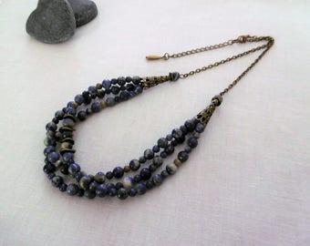 Gypsy Bohemian Sodalite beads multi strand necklace