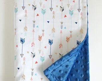 Arrow blanket, baby blanket, minky blanket, boys blanket, blue minky blanket, stroller blanket, bassinet blanket, crib blanket