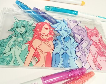 Star Guardian League of Legends Clear Pouch Soraka Ahri Ezreal Syndra Miss Fortune