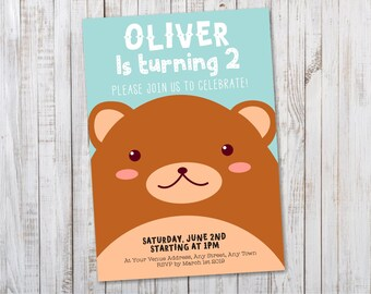 Bear Birthday Invitation / Bear Invitation Woodland Birthday Printable PDF Invite - Design ID: 37-07A
