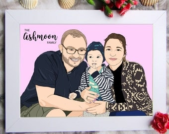 Custom Family Portrait, Family Portrait, Custom Portrait Digital, Custom Couple Portrait,  Family Illustration, Digital Files