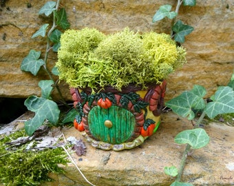 Maison de Hobbit fée jardin photophore lanterne - Hobbit house fairy garden decorated mini Jar