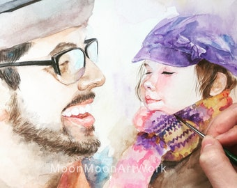 Priority Order:Custom Portrait Painting, original handmade watercolor painting, wedding gift,wedding engagement gift portrait