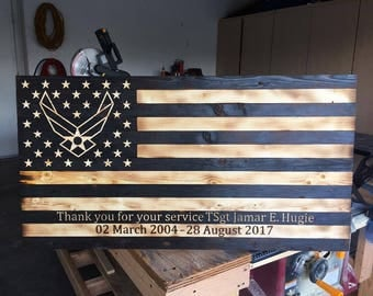 Custom Hand Made Torched Wood Air Force Flag