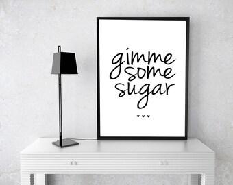 DIY PRINTABLE Black Gimme Some Sugar Sign | Instant Download Wedding Ceremony Reception Sign | Gold Foil Calligraphy |