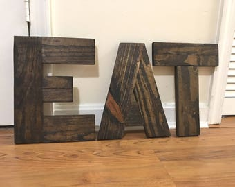 Rustic Reclaimed Wood Eat Sign, Rustic Eat Letters, Wood Word Eat, Rustic Letters Eat, Wood Eat Word, Wooden Eat Word, Reclaimed Wood Sign