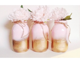 Pink and Gold Mason Jars, Baby Shower Mason Jars Centerpieces, Pink and Gold, Gold First Birthday