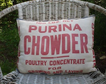 Vintage Feed Sack Pillow - Grain Sack - Purina - Red Ticking Fabric