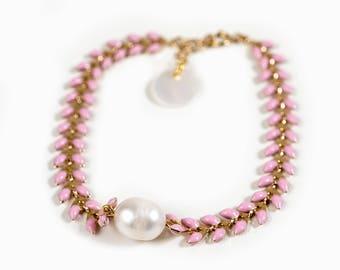 """COB"" enameled gold link bracelet and Freshwater Pearl"