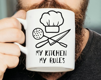 My Kitchen My Rules Mug - Chef Mug, Chef Gift, Gift For Chef, Funny Mug, Kitchen Mug, Kitchen Gift, Cook Mug, Cook Gift, Cooking Mug
