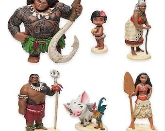 Moana 6pc cake topper action figures Hawaii birthday party Moana figure Hei Hei Pua Maui Grandma Tala Cheif tui Moana Party cake toppers