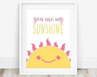 You Are My Sunshine - Yellow Nursery Decor, My Only Sunshine, Sunshine Baby Shower, Sunshine Art Print, Happy Sunshine Sign, Sunshine Print