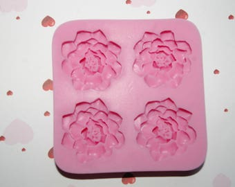 Dahlias pastry 3d flowers silicone mold