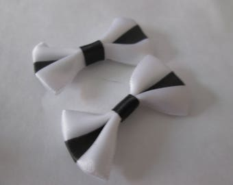 2 pretty knots satin white and black 37 x 25 mm