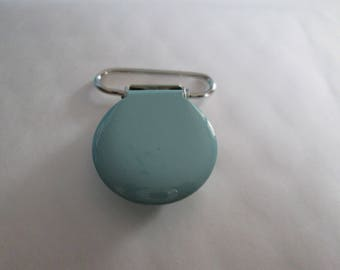 a clip / pacifier round sky blue enamelware