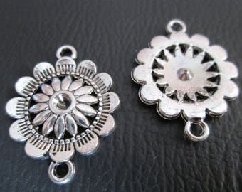 2 connectors metal flower silver 28 x 17 mm