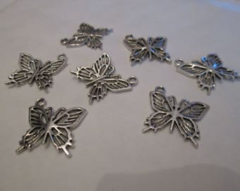 Openwork 10 Butterfly charms in silver 20 x 20 mm