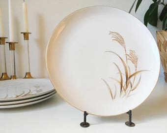 "Vintage Golden Wheat 10"" Dinner Plates + Set of 4 + White with Gold Rim + Harmony House Fine China + Mid Century + Vintage Serving"