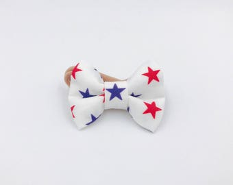 Baby Girl Bow Headband - Nylon Headbands - Hair clip - Infant / Toddler /  Fabric Hair Bows / Clips - red WHITE and blue stars