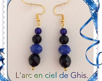 Black and blue earrings Royal, gold or silver hooks.