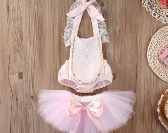 2Pcs baby girl Lace Romper Tutu Tulle Skirts outfits,birthday ,Costume,Photoshoots