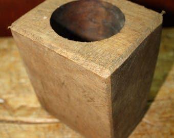 1 Hole Wooden Sugar Mold Wood Candle Holder Primitive Home Decor