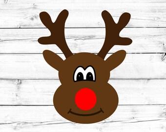 Rudolph Svg, Reindeer Svg, Reindeer Face Svg, Toddler Svg, Christmas Svg, Deer Svg, Cricut, Silhouette, Cut File, Commercial Use