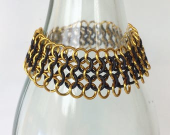 Chainmaille bracelet, european black and gold jewelry, aluminum jump rings, cuff bracelet, black bracelet, gold bracelet, Tessa's chainmail