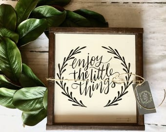 Enjoy the little things, farmhouse, joy, rustic, sign, wood sign