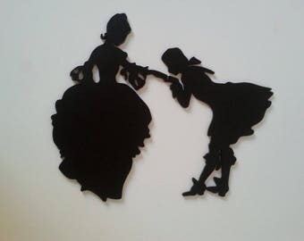 The kiss hand silhouette wood wall hanging