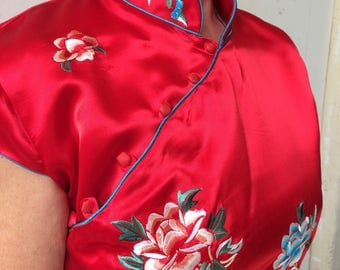Red silk, embroidered Cheongsam