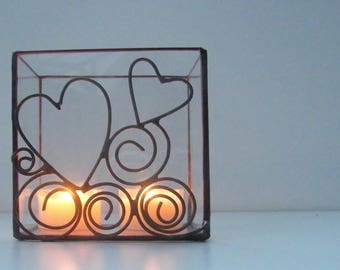 Tealight stained glass tiffany transparent, welding copper color aged pewter, with heart - light candle