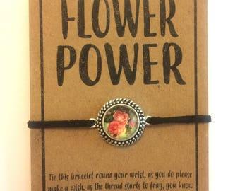 Flower Power friendship charm bracelet various colour