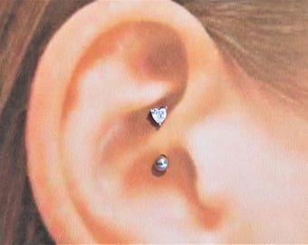 Daith Piercing Heart,Surgical Steel Curved Barbell..16g..8mm
