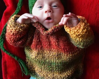 Made To Order Hand Knitted Baby Toddler Hippy Sweater Unisex - Multicolour Fire