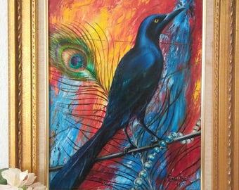 Original Oil Painting, Grackle Bird
