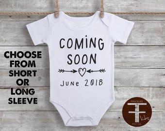 Coming Soon Onesie, Pregnancy Reveal Onesie, Pregnancy Reveal to Husband, Pregnancy Reveal to Grandparents, Pregnancy Announcement Onesies