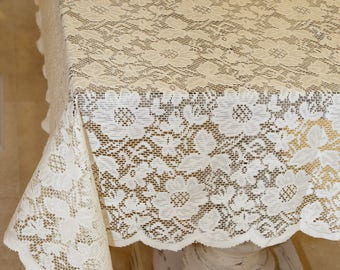 Ivory Lace Tablecloth Overlay Flowers 72 x 72 Inches Square Vintage Tablecloth Wedding Tablecloths Table Decoration